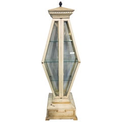 Mid-Century Modern Parcel-Gilt and Paint Decorated Pyramid Shaped Vitrine