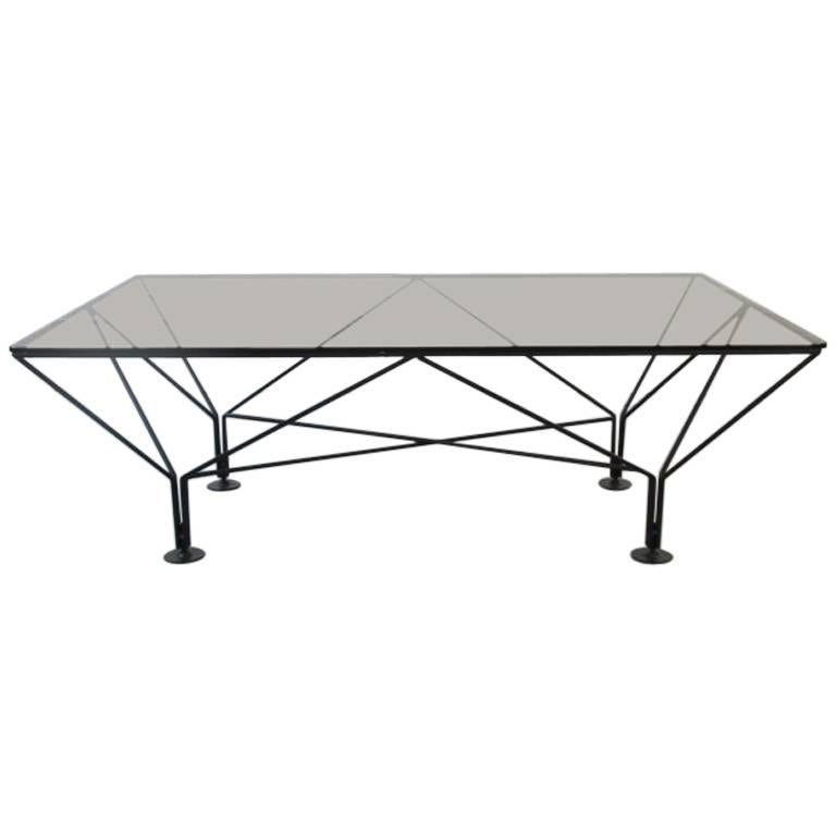 Paolo Piva Style Metal and Smoked Glass Coffee Table