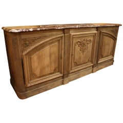 19th Century French Bleached Buffet with Marble Top