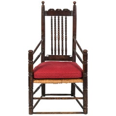 18th Century English Oak Bannister Armchair with Rush Seat