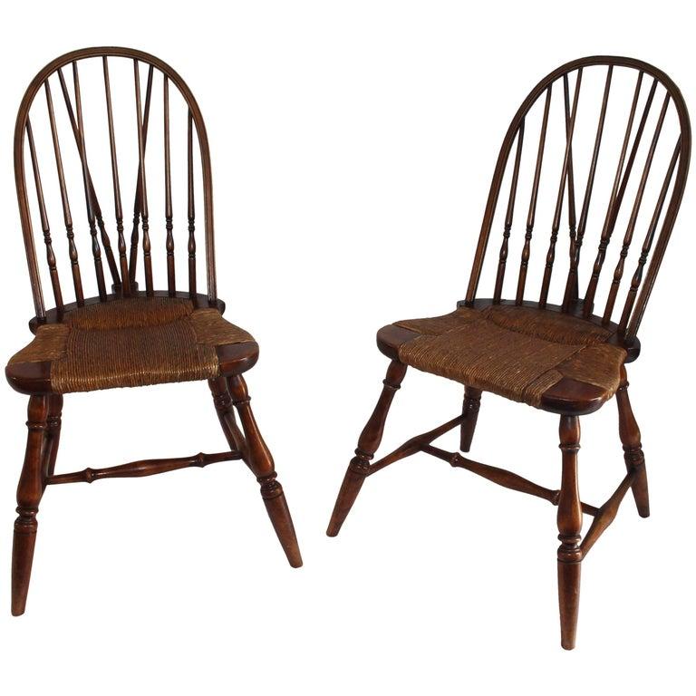 19th Century Windsor Brace Back Chairs, Pair