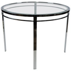 Chrome and Glass Mid-Century Modern Round Dining Table