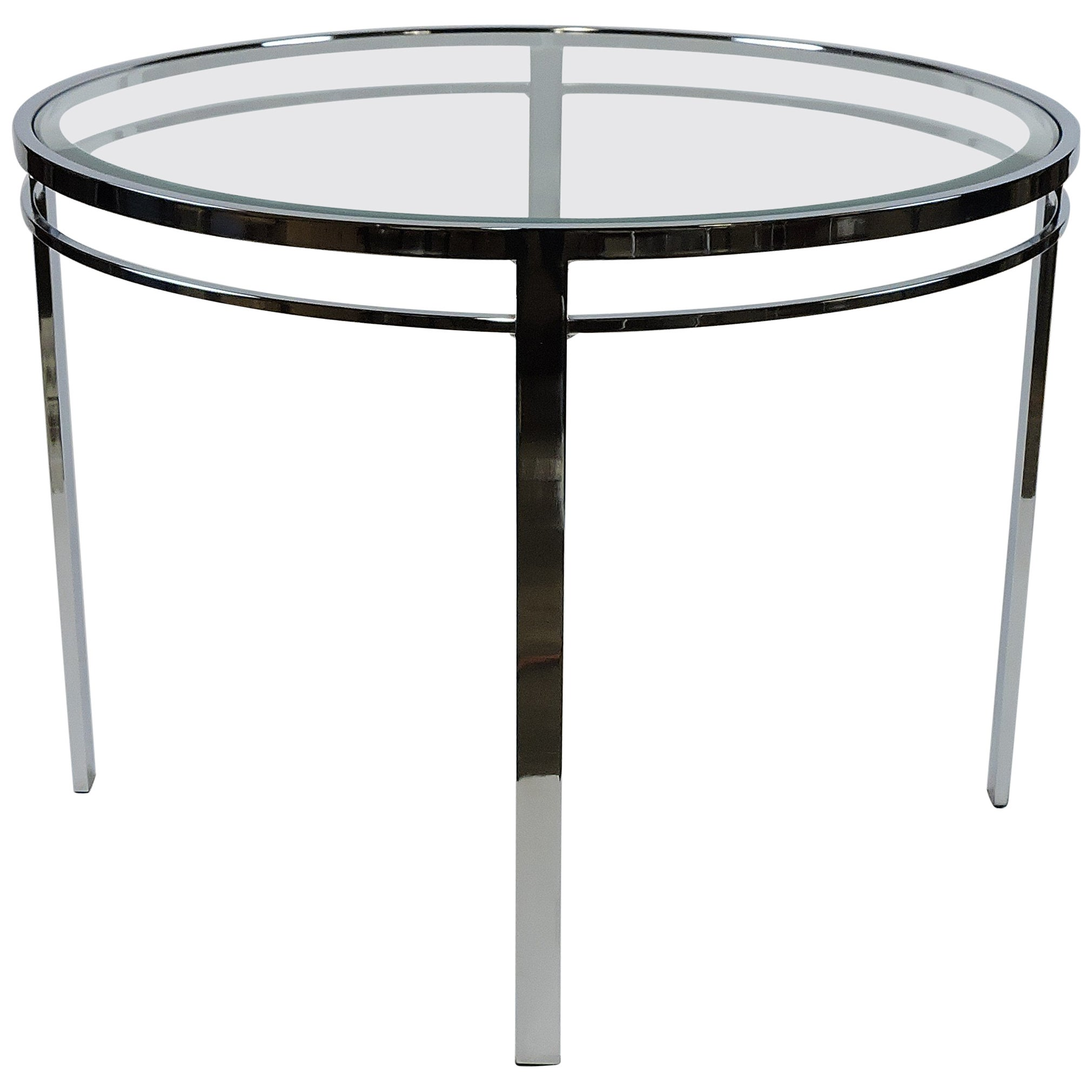 1b86905e931db Chrome and Glass Mid-Century Modern Round Dining Table at 1stdibs