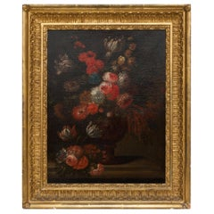 19th Century Floral Still Life Oil Painting in Gold Frame