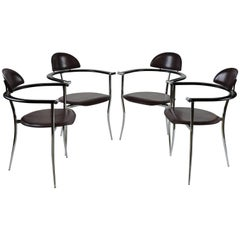 Set of Four Arrben Italian Modern Leather and Chrome Dining Chairs