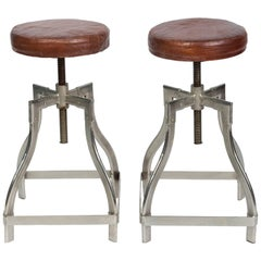 Pair of Industrial Adjustable Stools with Leather Seats