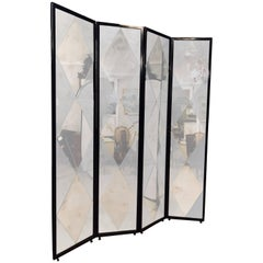 Four Panel Double Sided Floor Screen or Room Divider Distressed Diamond Mirror