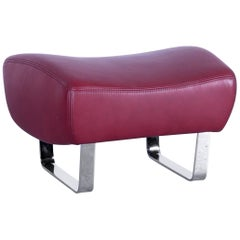 Koinor Designer Footstool Red Wine Colored Leather Footrest Pouf