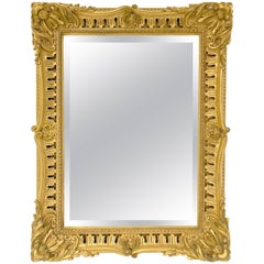 English Rectangular Bevelled Mirror in Gilt Frame (H 35 1/4 x W 27)