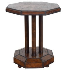 French Art Deco Octagonal Leather Covered Table with Nailhead Trim, circa 1930