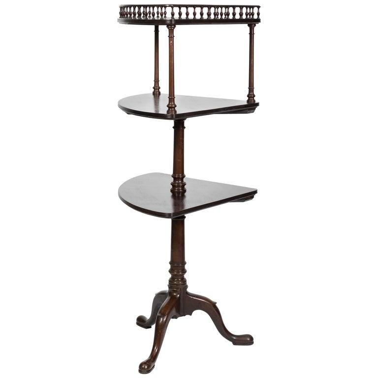 George III Style Mahogany Three-Tiered Corner Stand For Sale