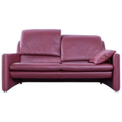 Leolux Fidamigo Designer Leather Sofa Red Two-Seat Function Couch