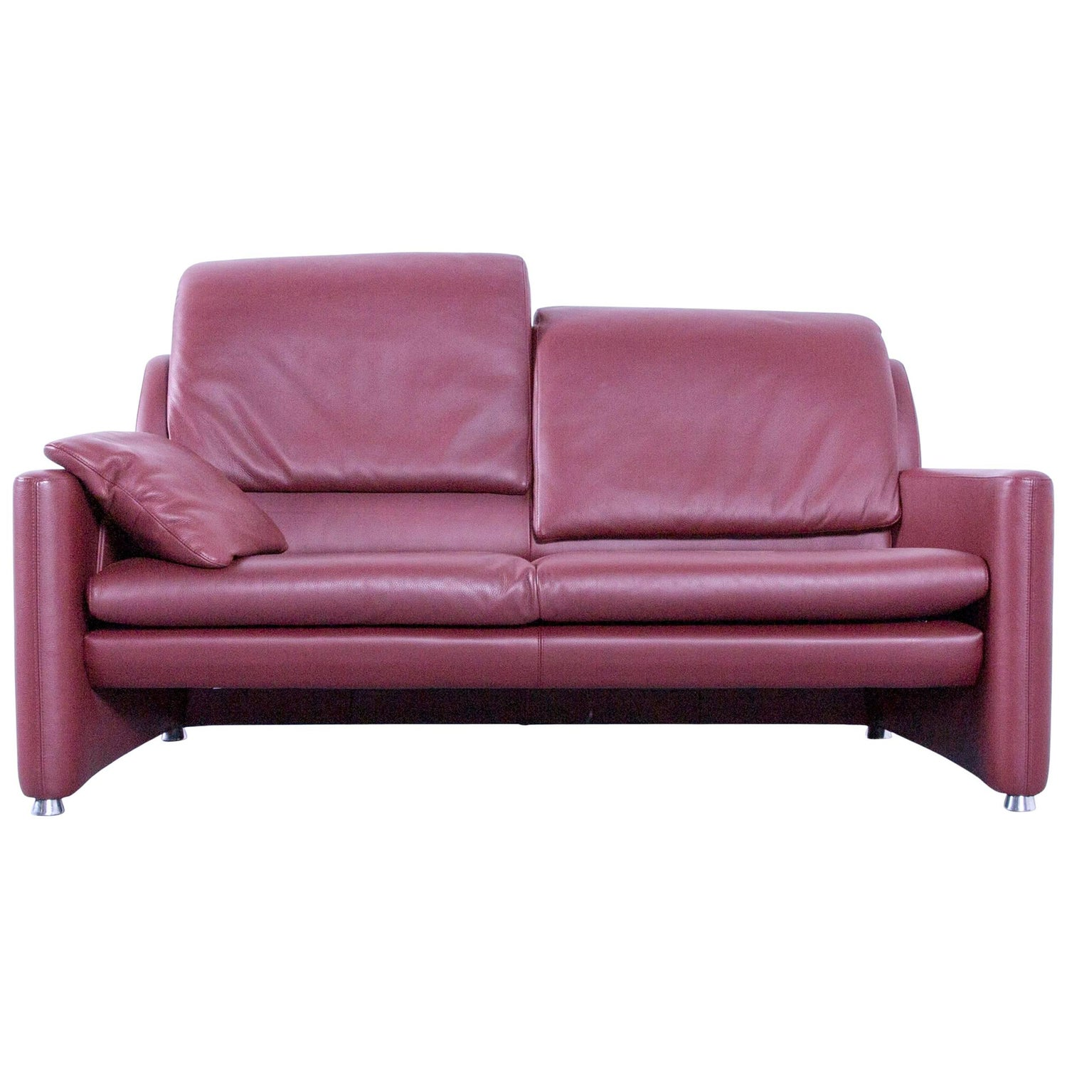 Leolux Fidamigo Designer Leather Sofa Red Two Seat Function Couch