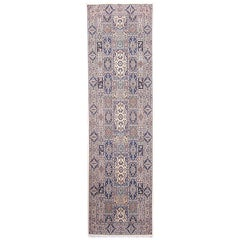 Persian Hand-Knotted Blue Cream Nain Runner Rug