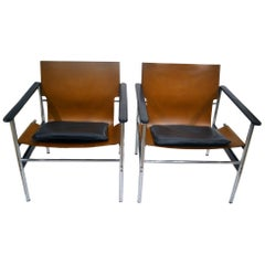 Vintage Charles Pollock Leather, Steel and Chrome Chairs for Knoll, circa 1960s