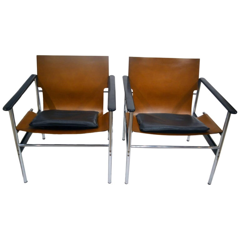 Vintage Charles Pollock Leather, Steel and Chrome Chairs for Knoll, circa 1960s For Sale