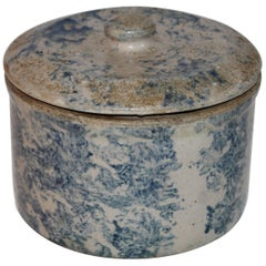 Spongeware Pottery 19th Century Crock with Lid