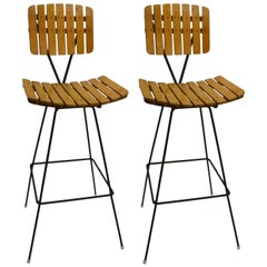 Pair of Umanoff Slatted Wood and Iron Stools