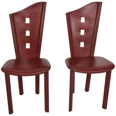 Pair of Italian Leather Chairs, Giancarlo Vegni Era