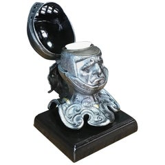Tole Figural Knight Inkwell