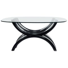 Mid-Century Modern Black and Clear Lucite Coffee Table
