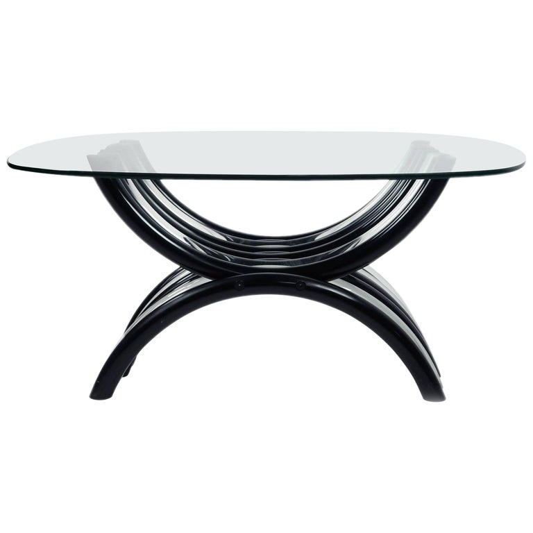Mid Century Modern Black And Clear Lucite Coffee Table For