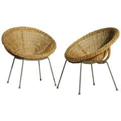 Rattan Wicker Bamboo Italian Design Midcentury Italy, Pair of Lounge Armchairs