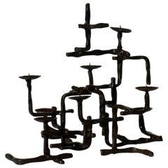 Marcello Fantoni Brutalist Art Midcentury Iron Sculpture Candleholder, Signed