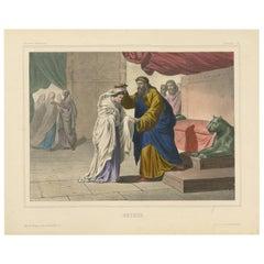 "Antique Religious Print ""No. 24"" Esther, circa 1840"