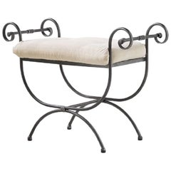 Hollywood Regency Wrought Iron Curule Bench, Savonarola, Throne