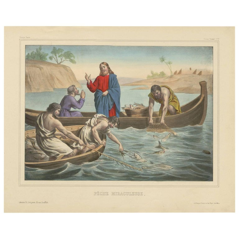 "Antique Religious Print ""No. 12"" the Miraculous Catch of Fish, circa 1840"