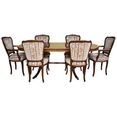 Burr Walnut Dining Table and Chairs by H&L Epstein