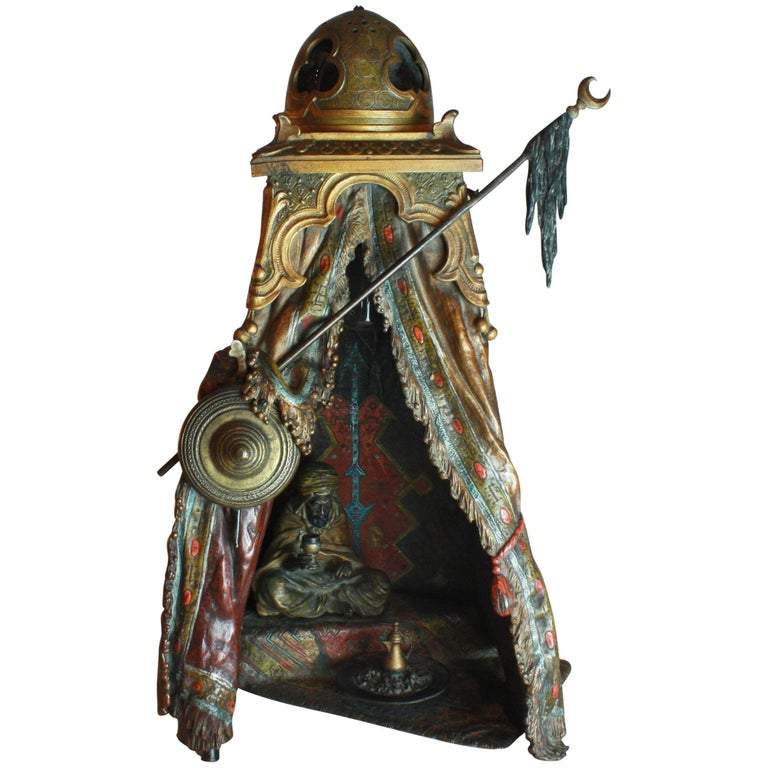Viennese Cold Painted Bronze Orientalist Lamp by Bergman, circa 1900