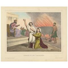 "Antique Religious Print ""No. 27"" Eleazar and the Seven Maccabees, circa 1840"