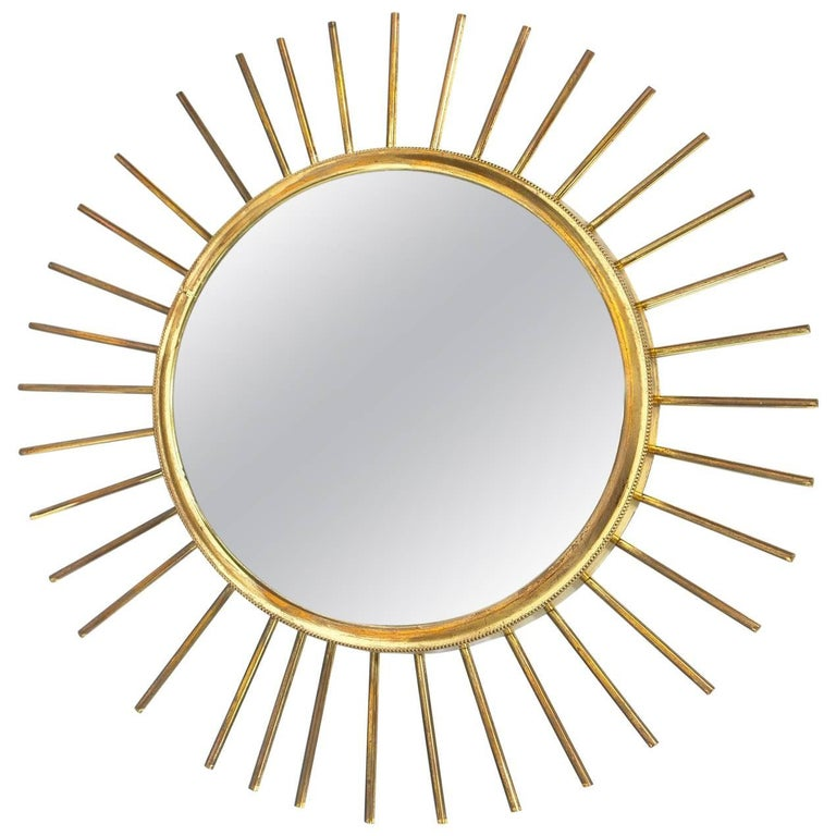 Mid Century Modern French Sunburst Mirror For Sale