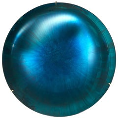 Turquoise-Blue Tinted Concave Mirror by Christophe Gaignon