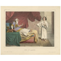 "Antique Religious Print ""No. 3"" Eli and Samuel, circa 1840"