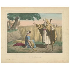 "Antique Religious Print ""No. 1"" Ruth and Boaz, circa 1840"