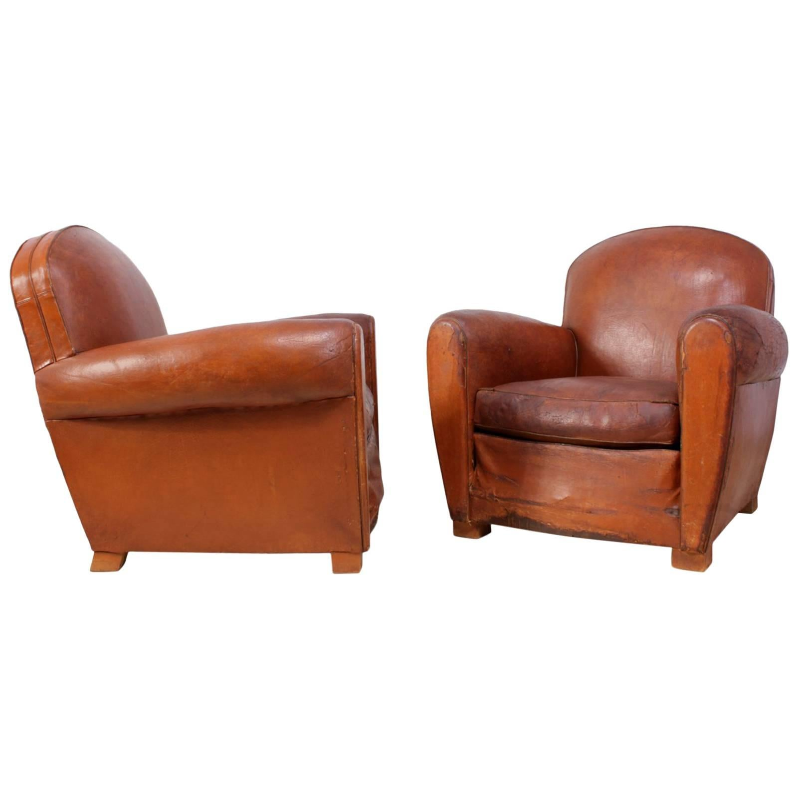 Pair Of French Leather Club Chairs For Sale