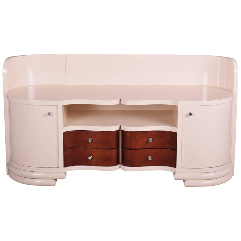 Low Art Deco Dressing Commode from Czechoslovakia, Color Ivory, 1930-1939