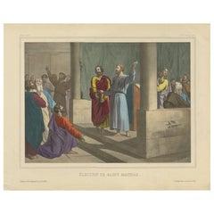 Antique Religious Print 'No. 42' Election of Saint Matthias, circa 1840