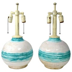 Pair of Art Deco Pottery Lamps Marke France Dore, 1928