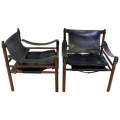 Pair of Sirocco Safari Chair by Arne Norell Black Leather