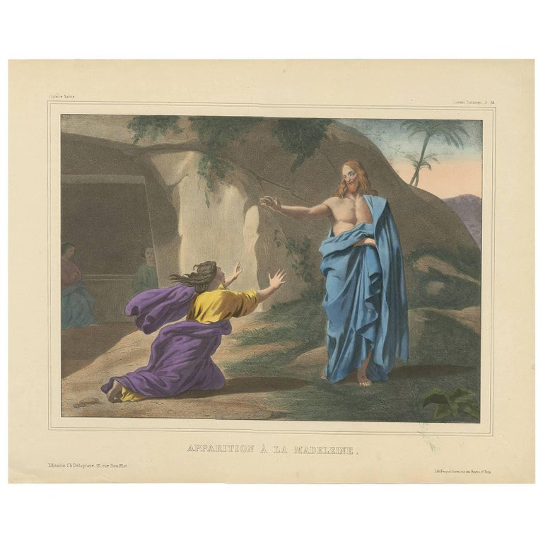 Antique Religious Print 'No. 39' the Appearance to Mary Magdalene, circa 1840