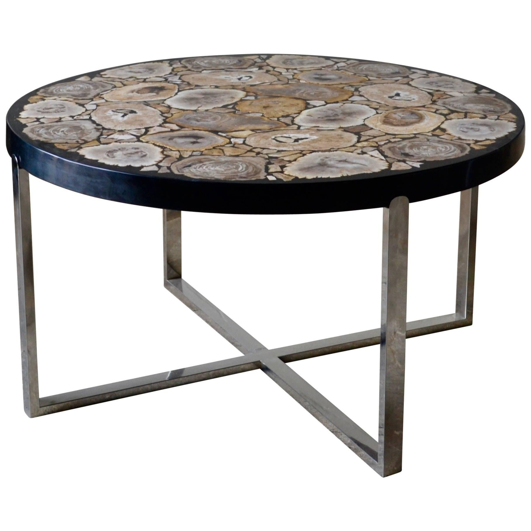 Petrified Wood Round Coffee Table Black Gloss And Stainless Steel Base For  Sale
