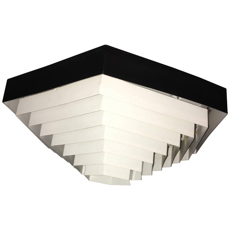 1960s Black and White Hexagon Flush Mount by Doria, Germany For Sale