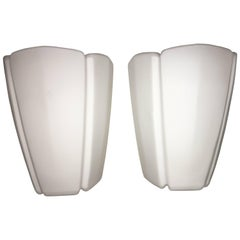 Pair of 1960s Milk Glass Sconces by Limburg Germany