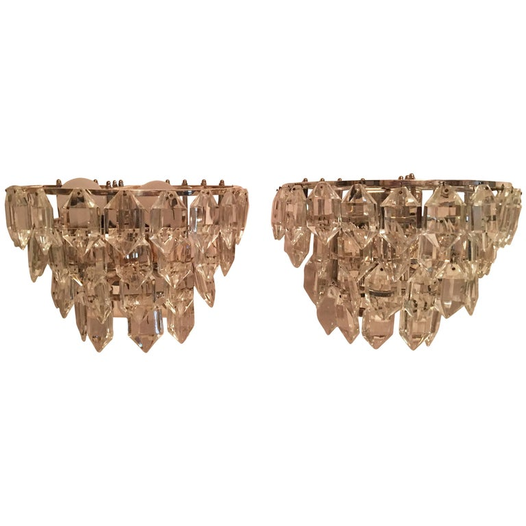 Pair of Austria Tiered Crystal Glass Sconces For Sale