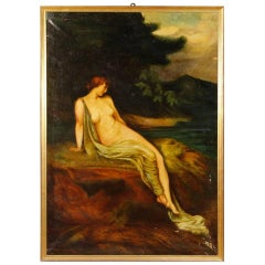 Italian Painting Oil on Canvas Signed Dated Landscape with Female Nude