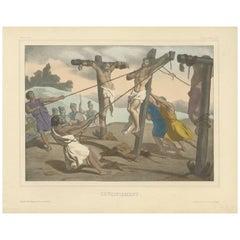 "Antique Religious Print ""No. 35"" the Crucifixion of Jesus, circa 1840"